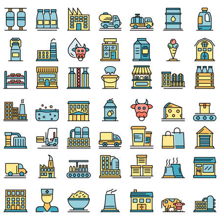 Milk factory icons vector flat