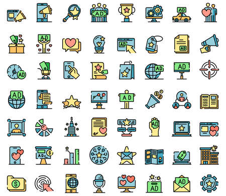 Advertising agency icons vector flat