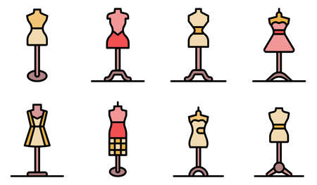 Mannequin icons vector flat