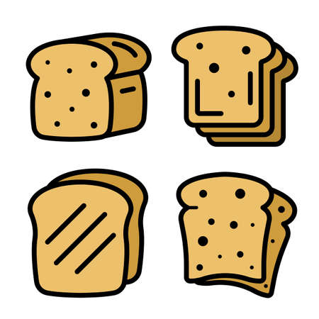 Toast icons set. Outline set of toast vector icons thin line color flat on white Ilustrace