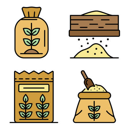 Flour icons set. Outline set of flour vector icons thin line color flat on white