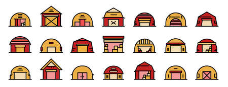 Hangar icons set. Outline set of hangar vector icons thin line color flat on white Illusztráció