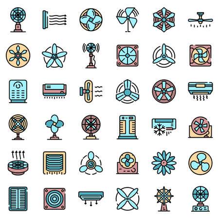 Ventilator icons set. Outline set of ventilator vector icons thin line color flat on white Vetores