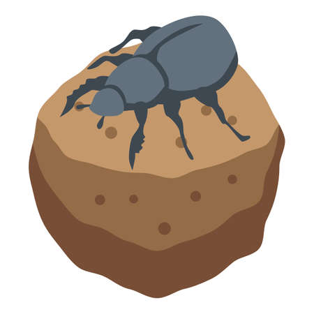 Ground scarab icon, isometric style