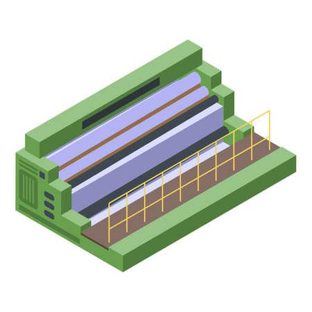 Textile production equipment icon, isometric style