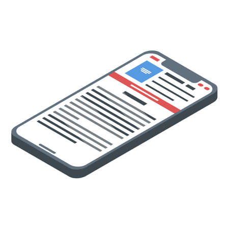 Smartphone online library icon, isometric style 矢量图像