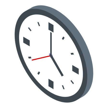 Wall clock library icon, isometric style 矢量图像