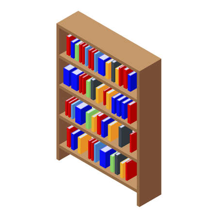 Library book shelf icon, isometric style