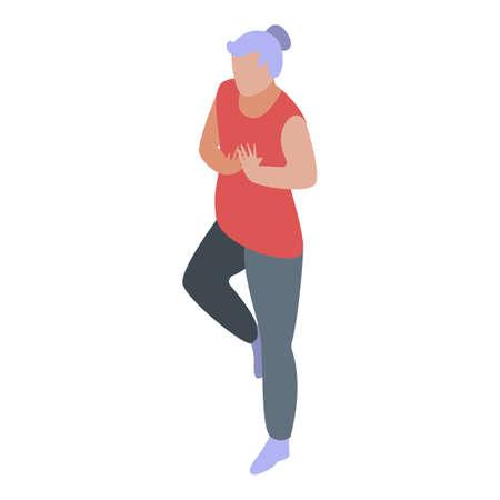 Senior woman stretching icon, isometric style