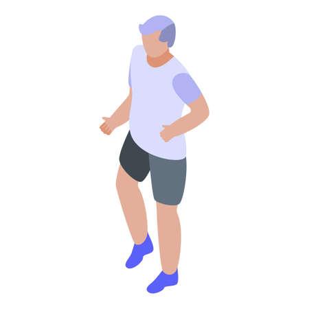 Senior man make exercise icon, isometric style