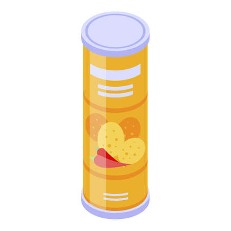 Chips tube icon, isometric style