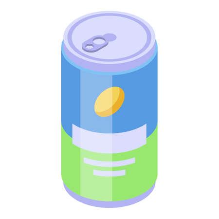 Energy drink tin icon, isometric style
