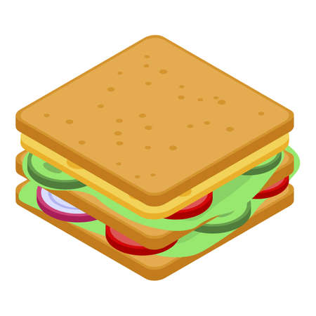 School sandwich icon, isometric style Illustration