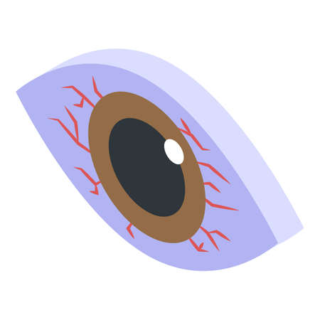 Tired eye icon, isometric style
