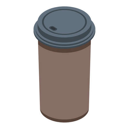 Plastic coffee cup icon, isometric style 向量圖像