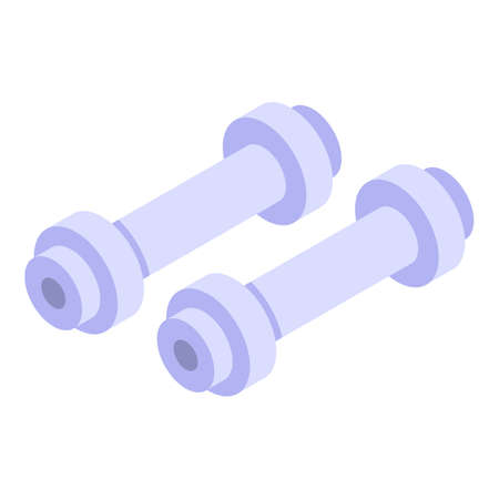 Steel dumbbells icon, isometric style