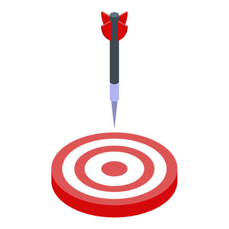 Darts into target icon, isometric style