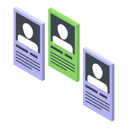People card recruiter icon. Isometric of people card recruiter vector icon for web design isolated on white background