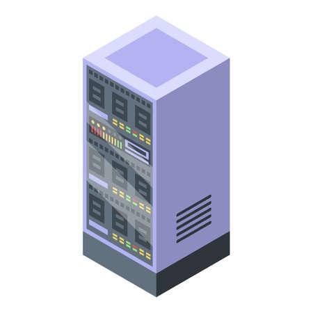 Modern server wardrobe icon. Isometric of modern server wardrobe vector icon for web design isolated on white background Vettoriali