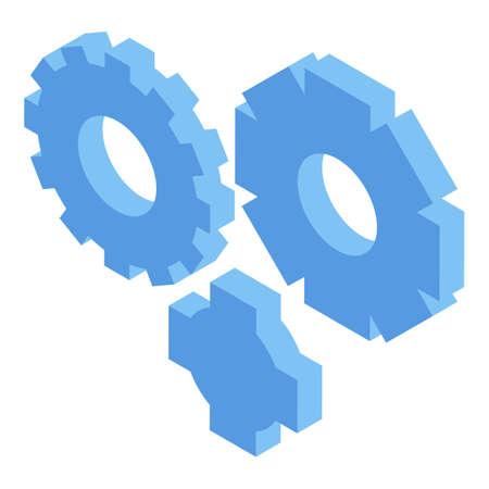 Gear wheels software test icon. Isometric of gear wheels software test vector icon for web design isolated on white background Illusztráció