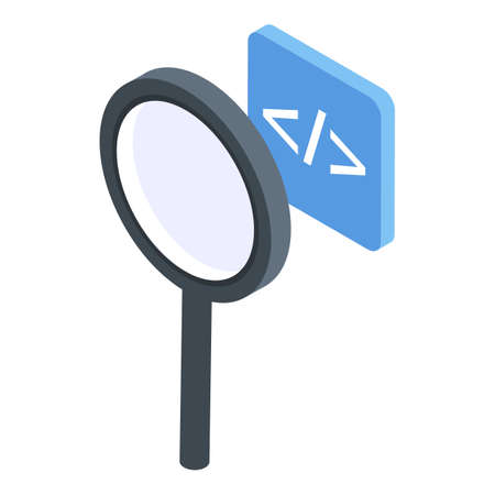 Testing software magnifier icon. Isometric of testing software magnifier vector icon for web design isolated on white background