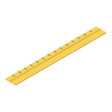 Wood ruler icon. Isometric of wood ruler vector icon for web design isolated on white background