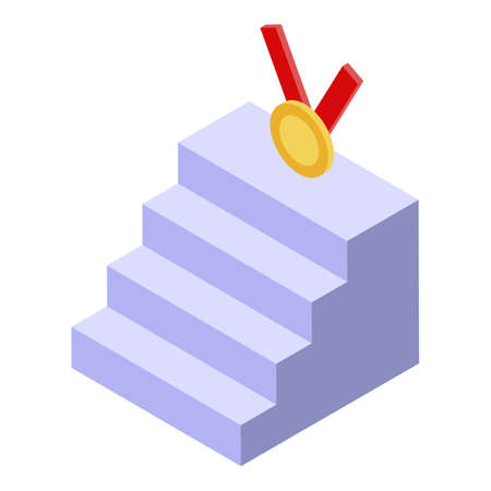 Business medal stairs icon. Isometric of business medal stairs vector icon for web design isolated on white background
