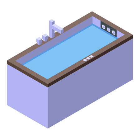 Isometric of bathtub vector icon for web design isolated on white background