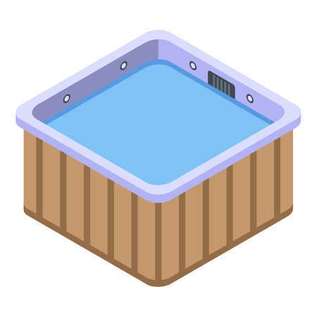 Isometric of square bathtubvector icon for web design isolated on white background