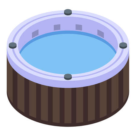 Isometric of round bathtub vector icon for web design isolated on white background Иллюстрация
