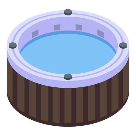 Isometric of round bathtub vector icon for web design isolated on white background Illustration