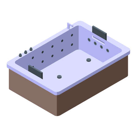 Isometric of equipment bathtub vector icon for web design isolated on white background