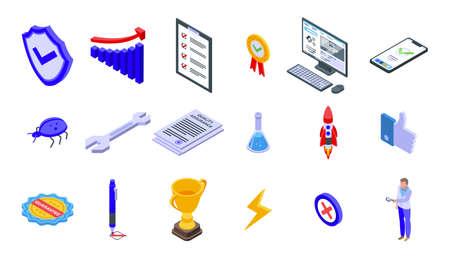 Quality assurance icons set, isometric style