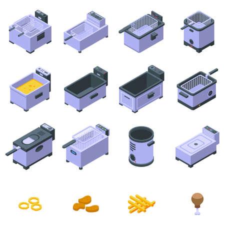 Deep fryer icons set, isometric style