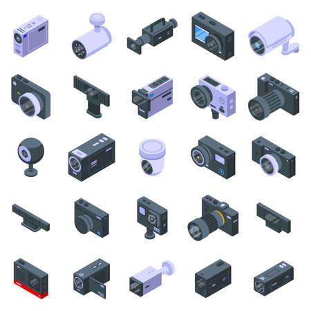 Camcorder icons set, isometric style Ilustracje wektorowe