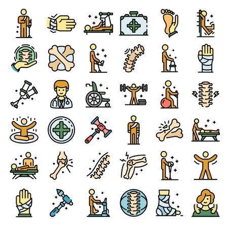 Chiropractor icons set vector flat