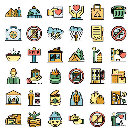 Homeless shelter icons set vector flat