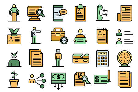Unemployed icons set vector flat Ilustrace