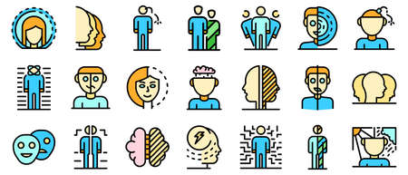 Bipolar disorder icons set vector flat