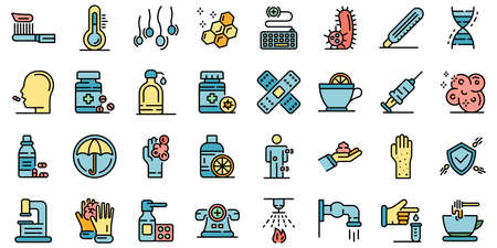 Prevention icons set vector flat