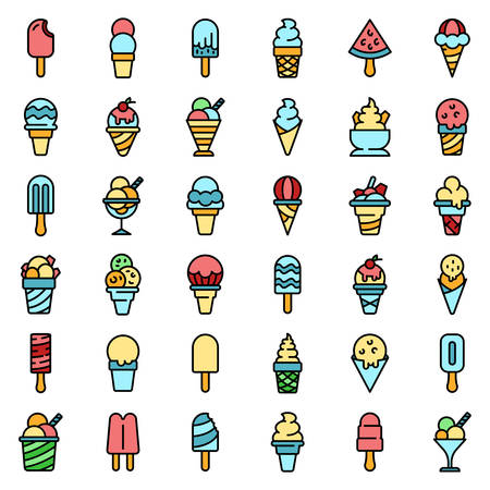 Ice cream icons set vector flat Ilustrace