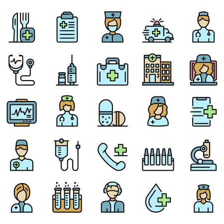 Nurse icons set vector flat Vektorové ilustrace