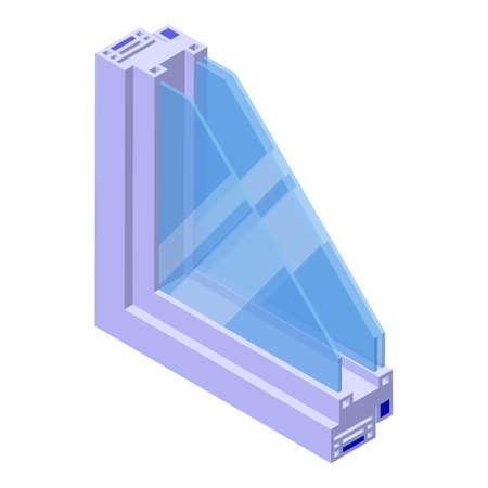 Soundproof window icon, isometric style