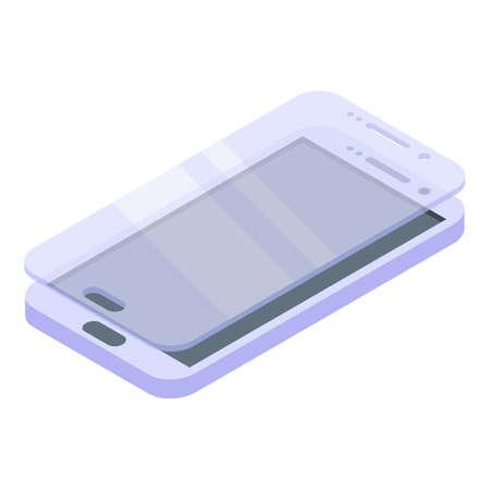 Drop protective glass phone icon, isometric style Vecteurs