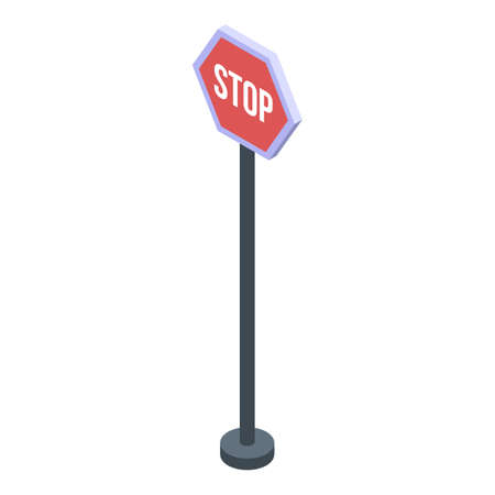 Stop road sign icon, isometric style