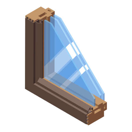 House soundproof window icon, isometric style