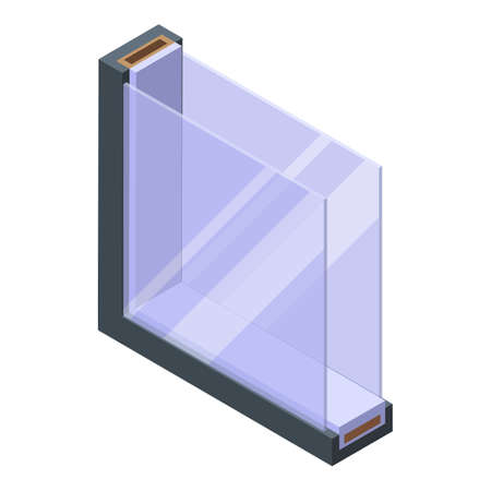 Soundproofing simple window icon, isometric style