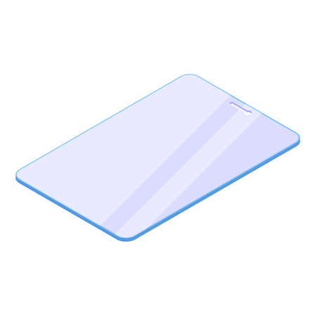 Tablet protective glass icon, isometric style