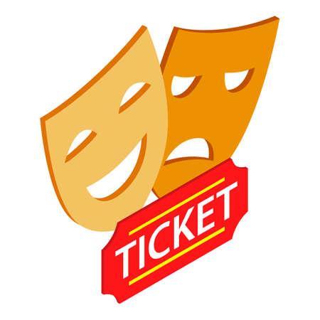 Theatre symbol icon, isometric style