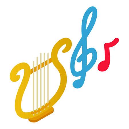 Music symbol icon, isometric style